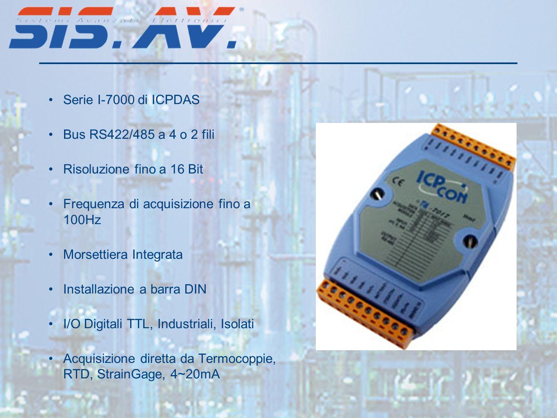 Serie I-7000 di ICPDAS Bus RS422/485 a 4 o 2 fili Risoluzione fino a 16 Bit Frequenza di acquisizione fino a 100Hz Morsettiera Integrata Installazione a barra DIN I/O Digitali TTL, Industriali, Isolati Acquisizione diretta da Termocoppie, RTD, StrainGage, 4~20mA