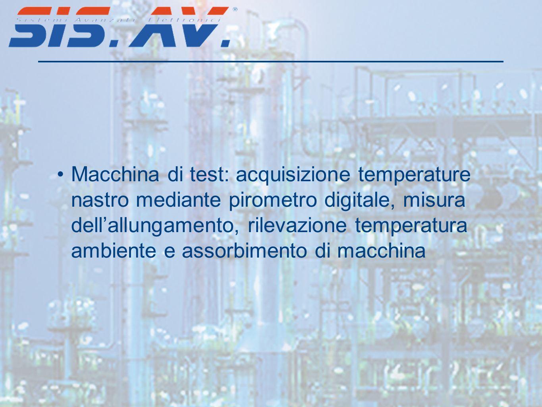 Macchina di test: acquisizione temperature nastro mediante pirometro digitale, misura dellallungamento, rilevazione temperatura ambiente e assorbiment