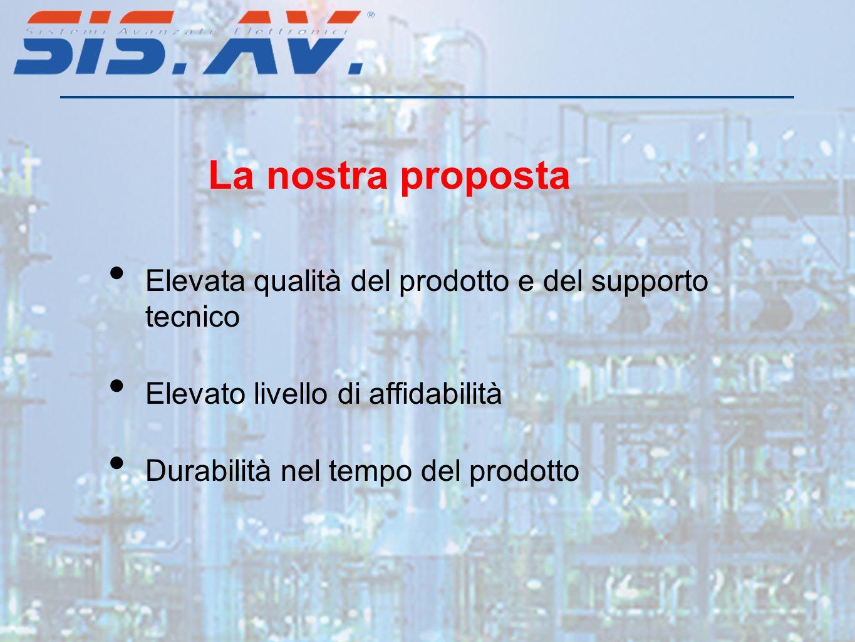 Elevata qualità del prodotto e del supporto tecnico Elevato livello di affidabilità Durabilità nel tempo del prodotto La nostra proposta