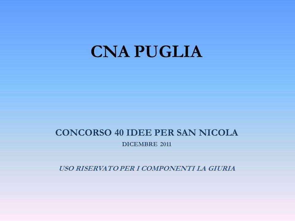 CNA PUGLIA CONCORSO 40 IDEE PER SAN NICOLA DICEMBRE 2011 USO RISERVATO PER I COMPONENTI LA GIURIA