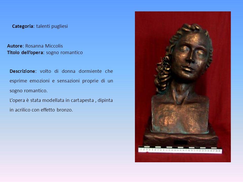 Autore: Rosanna Miccolis Titolo dellopera: sogno romantico Descrizione: volto di donna dormiente che esprime emozioni e sensazioni proprie di un sogno