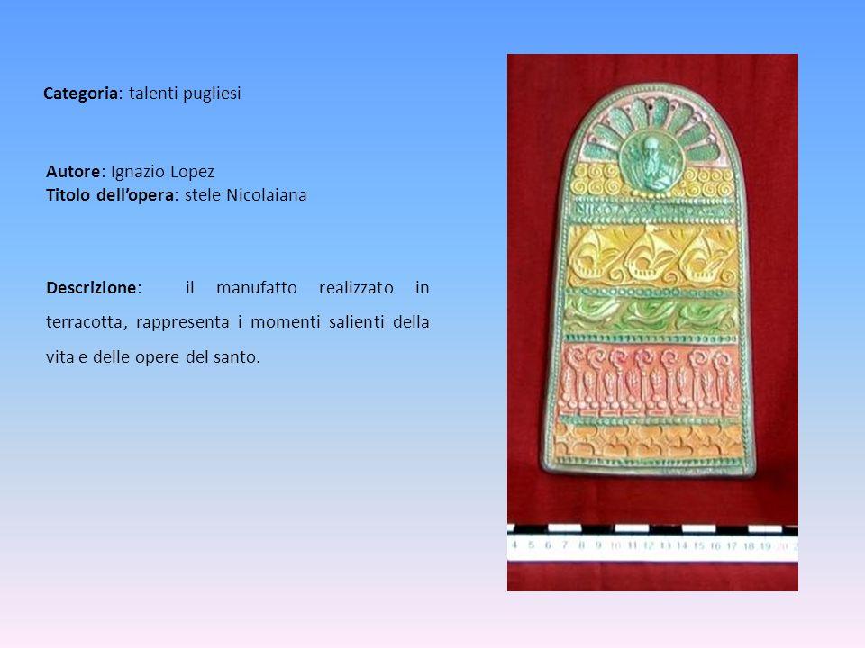 Autore: Ignazio Lopez Titolo dellopera: stele Nicolaiana Descrizione: il manufatto realizzato in terracotta, rappresenta i momenti salienti della vita