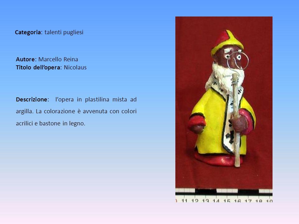 Autore: Marcello Reina Titolo dellopera: Nicolaus Descrizione: lopera in plastilina mista ad argilla. La colorazione è avvenuta con colori acrilici e