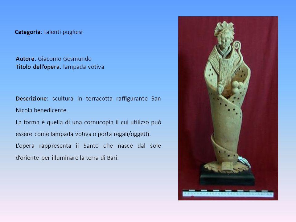 Autore: Giacomo Gesmundo Titolo dellopera: lampada votiva Descrizione: scultura in terracotta raffigurante San Nicola benedicente. La forma è quella d