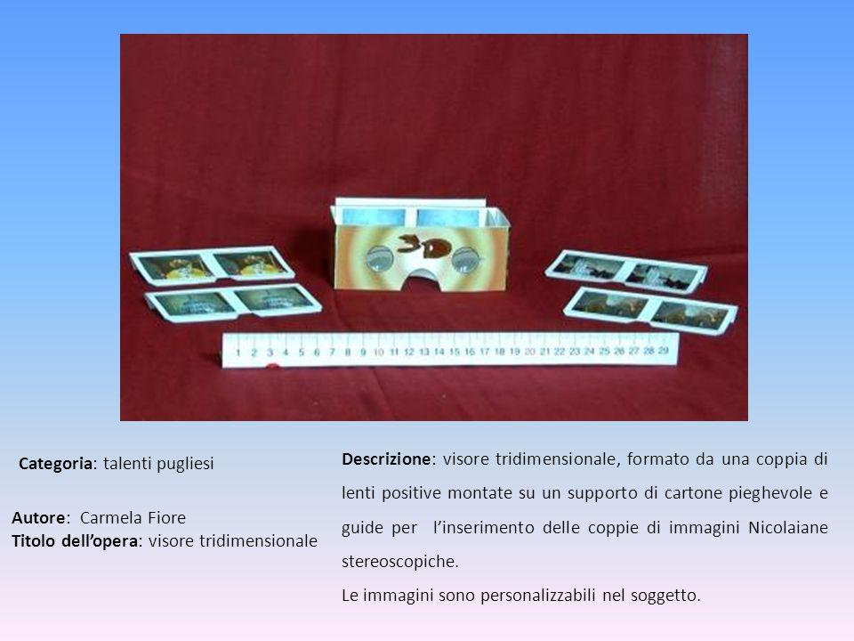 Autore: Carmela Fiore Titolo dellopera: visore tridimensionale Descrizione: visore tridimensionale, formato da una coppia di lenti positive montate su
