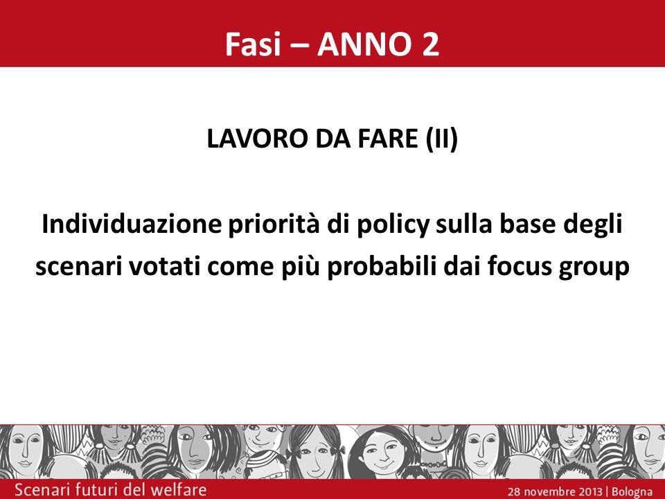Fasi – ANNO 2 LAVORO DA FARE (II) Individuazione priorità di policy sulla base degli scenari votati come più probabili dai focus group