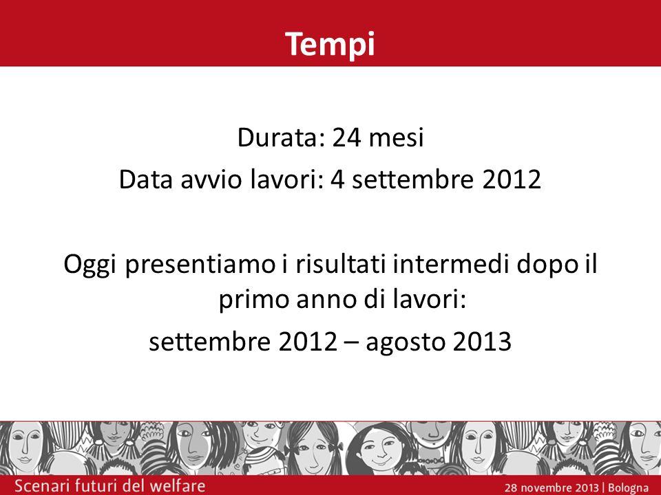 Tempi Durata: 24 mesi Data avvio lavori: 4 settembre 2012 Oggi presentiamo i risultati intermedi dopo il primo anno di lavori: settembre 2012 – agosto