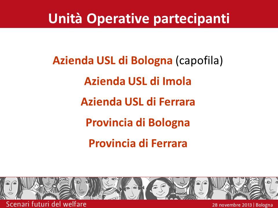 Unità Operative partecipanti Azienda USL di Bologna (capofila) Azienda USL di Imola Azienda USL di Ferrara Provincia di Bologna Provincia di Ferrara