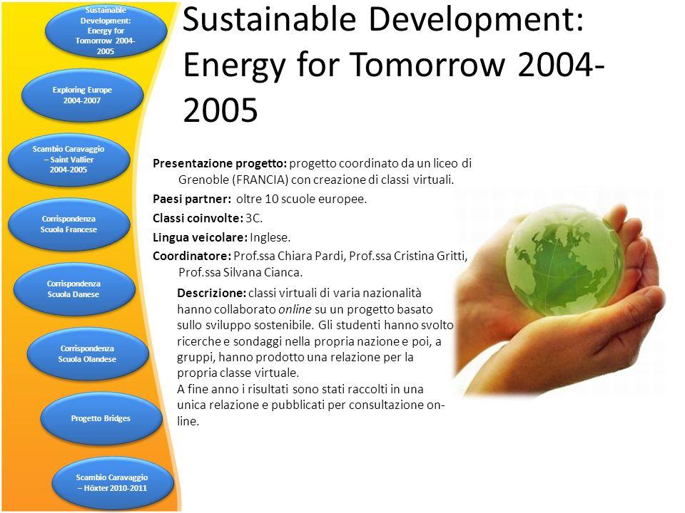 Sustainable Development: Energy for Tomorrow 2004- 2005 Descrizione: classi virtuali di varia nazionalità hanno collaborato online su un progetto basa