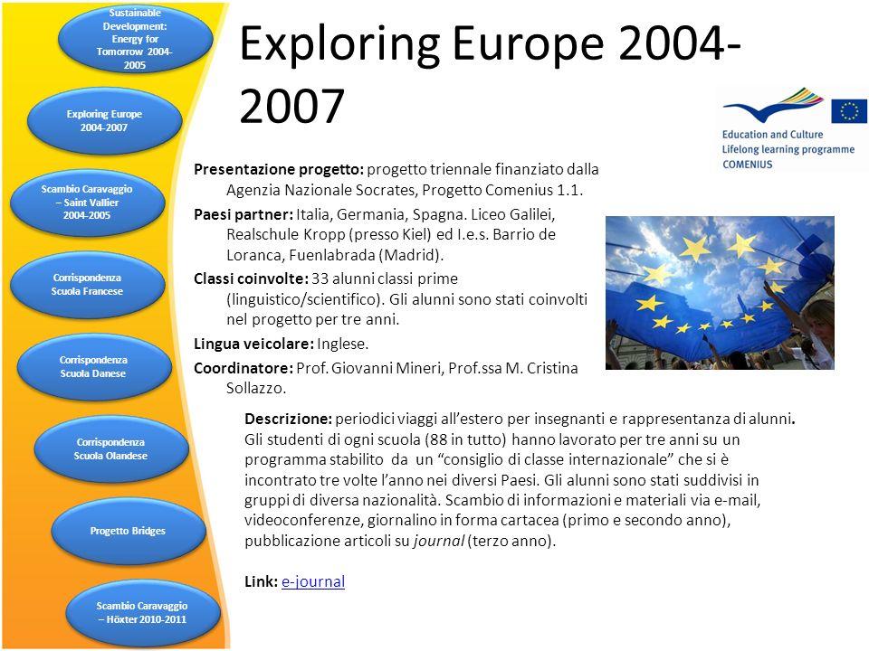 Exploring Europe 2004- 2007 Descrizione: periodici viaggi allestero per insegnanti e rappresentanza di alunni. Gli studenti di ogni scuola (88 in tutt