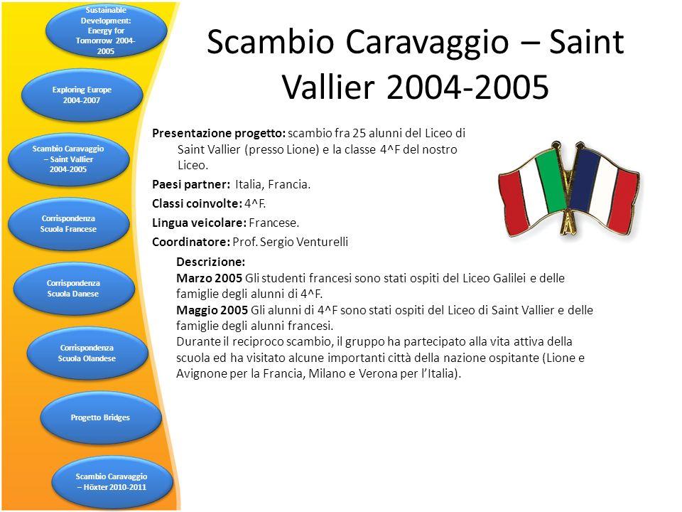 Scambio Caravaggio – Saint Vallier 2004-2005 Descrizione: Marzo 2005 Gli studenti francesi sono stati ospiti del Liceo Galilei e delle famiglie degli