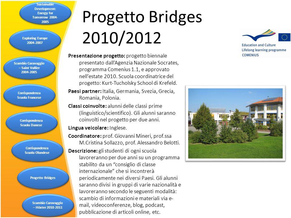 Progetto Bridges 2010/2012 Presentazione progetto: progetto biennale presentato dallAgenzia Nazionale Socrates, programma Comenius 1.1, e approvato ne