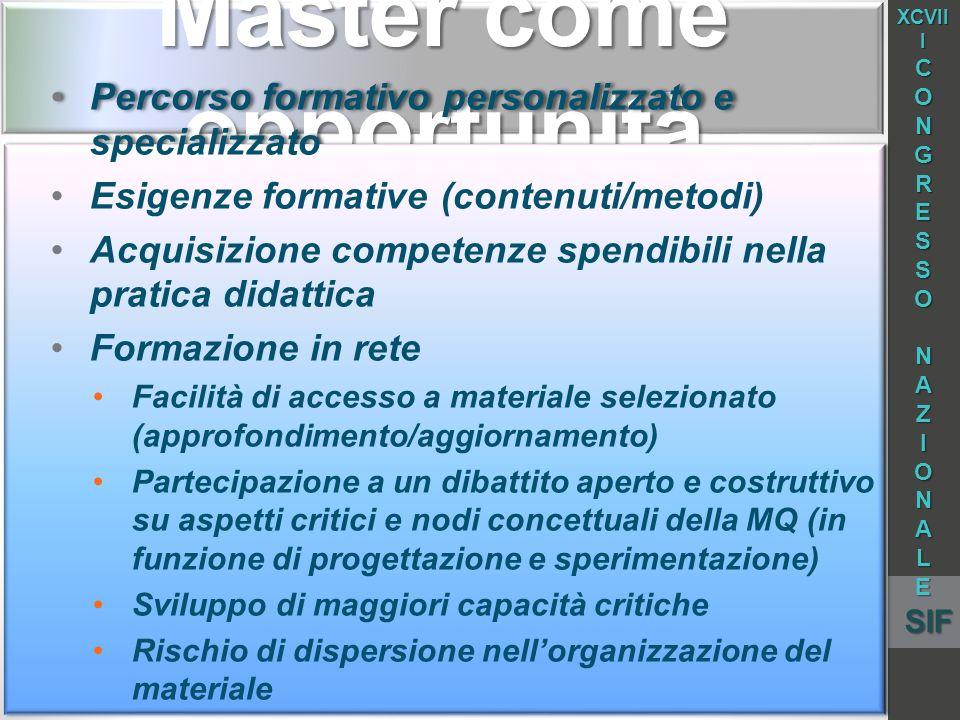 Master come opportunità Percorso formativo personalizzato e specializzato Esigenze formative (contenuti/metodi) Acquisizione competenze spendibili nel