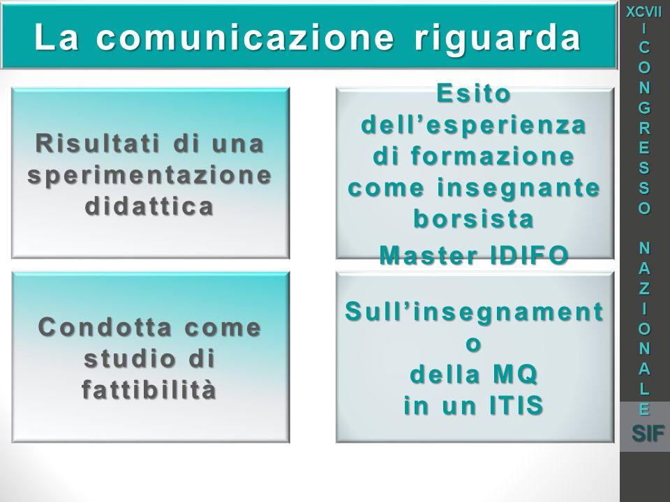 La comunicazione riguarda Risultati di una sperimentazione didattica Esito dellesperienza di formazione come insegnante borsista Master IDIFO Condotta