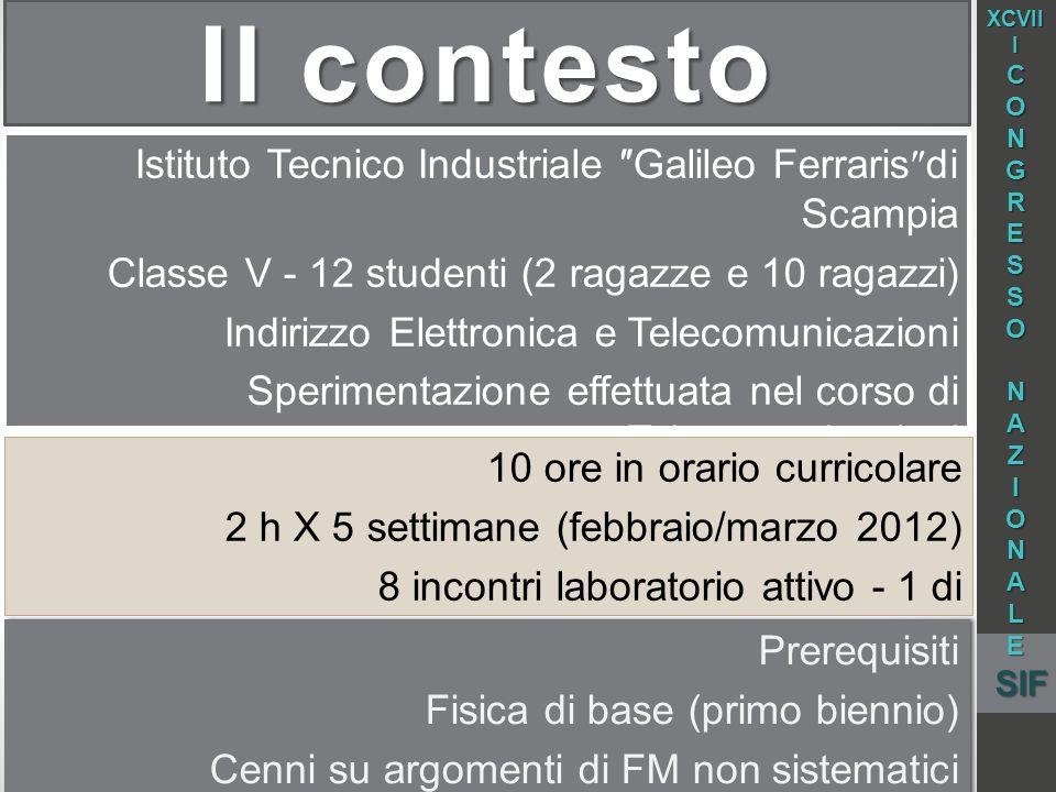 Il contesto Istituto Tecnico Industriale Galileo Ferraris di Scampia Classe V - 12 studenti (2 ragazze e 10 ragazzi) Indirizzo Elettronica e Telecomun