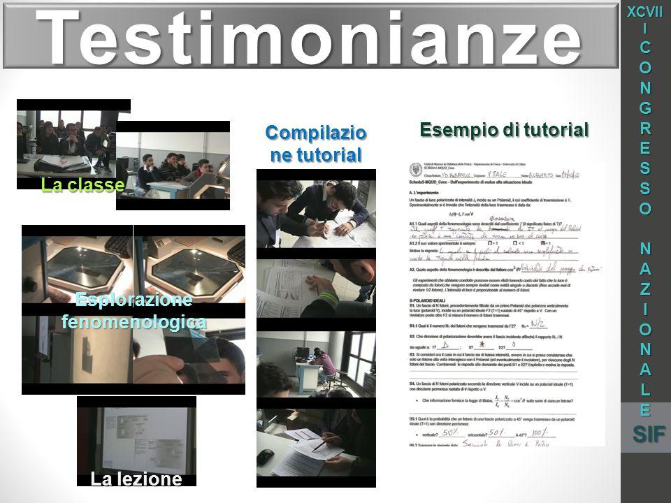 Testimonianze La classe Esplorazione fenomenologica Compilazio ne tutorial La lezione Esempio di tutorial XCVII I CONGRESSO NAZIONALESIF