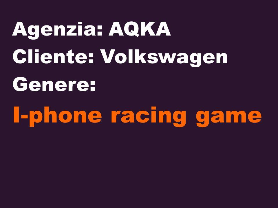 Agenzia: AQKA Cliente: Volkswagen Genere: I-phone racing game