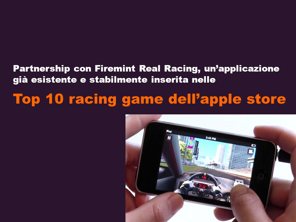Partnership con Firemint Real Racing, unapplicazione già esistente e stabilmente inserita nelle Top 10 racing game dellapple store