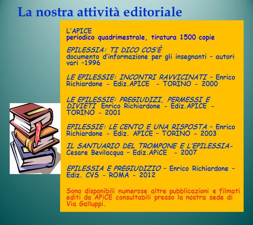 La nostra attività editoriale LAPICE periodico quadrimestrale, tiratura 1500 copie EPILESSIA: TI DICO COSÈ documento dinformazione per gli insegnanti
