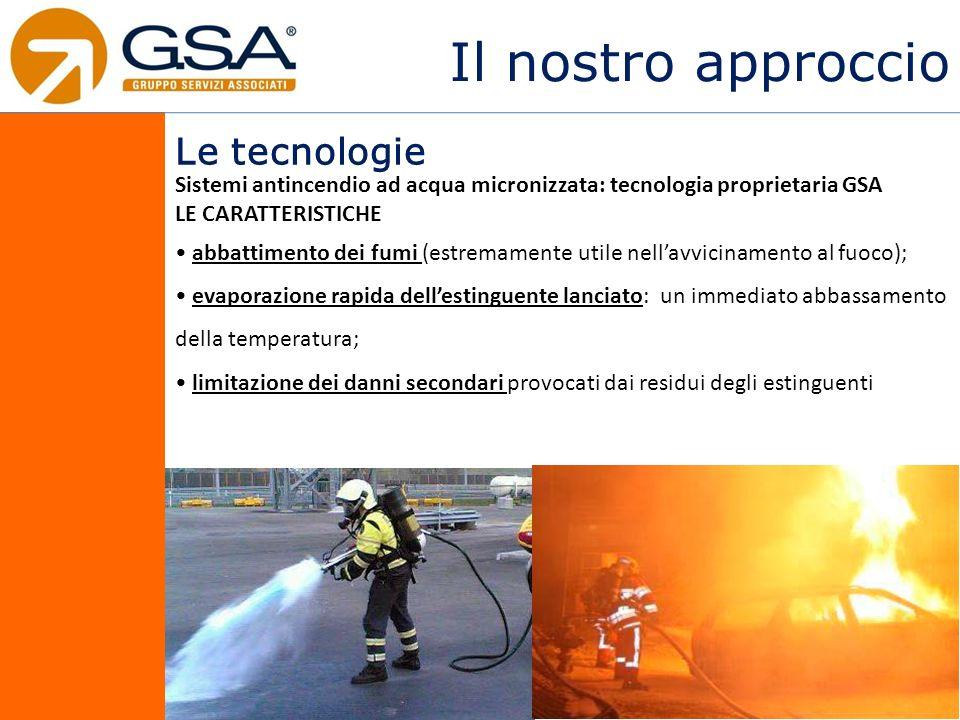 Il nostro approccio Le tecnologie Sistemi antincendio ad acqua micronizzata: tecnologia proprietaria GSA LE CARATTERISTICHE abbattimento dei fumi (est