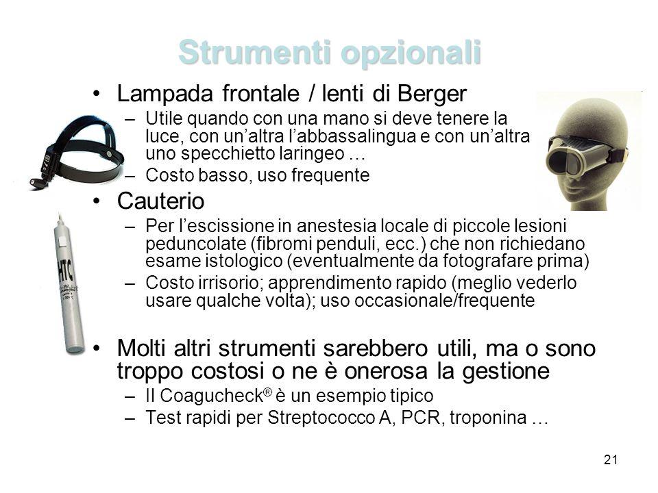 21 Strumenti opzionali Lampada frontale / lenti di Berger –Utile quando con una mano si deve tenere la luce, con unaltra labbassalingua e con unaltra