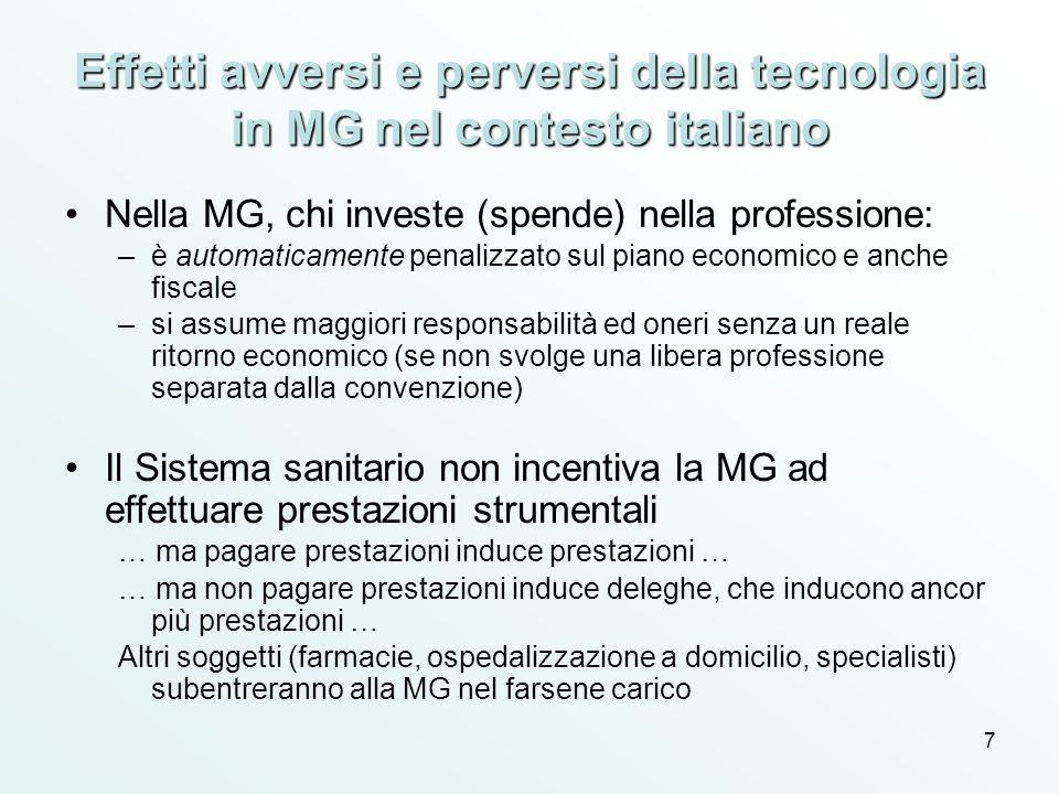7 Effetti avversi e perversi della tecnologia in MG nel contesto italiano Nella MG, chi investe (spende) nella professione: –è automaticamente penaliz