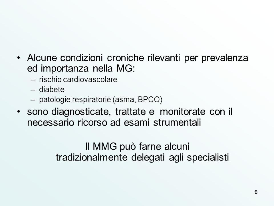 8 Alcune condizioni croniche rilevanti per prevalenza ed importanza nella MG: –rischio cardiovascolare –diabete –patologie respiratorie (asma, BPCO) s