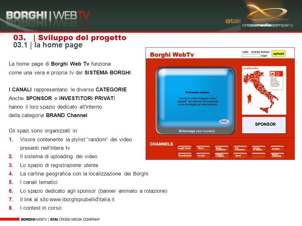 03. | Sviluppo del progetto 03.1 | la home page La home page di Borghi Web Tv funziona come una vera e propria tv del SISTEMA BORGHI. I CANALI rappres