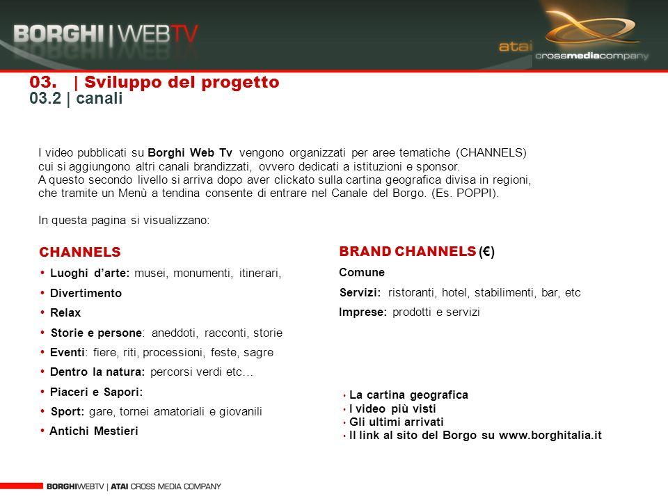 I video pubblicati su Borghi Web Tv vengono organizzati per aree tematiche (CHANNELS) cui si aggiungono altri canali brandizzati, ovvero dedicati a is