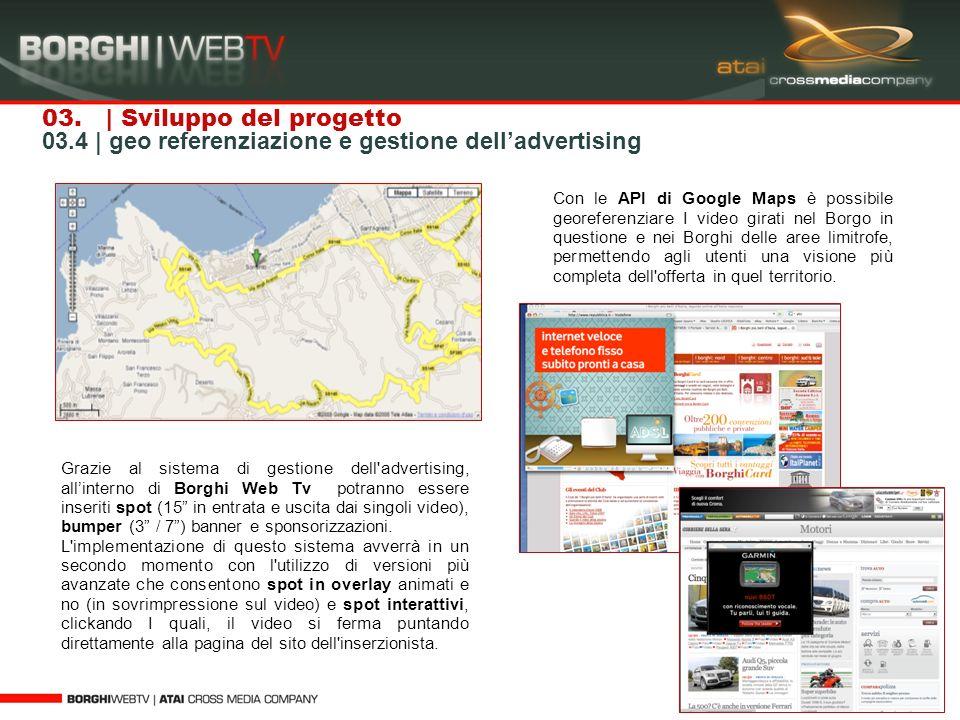 03. | Sviluppo del progetto 03.4 | geo referenziazione e gestione delladvertising Grazie al sistema di gestione dell'advertising, allinterno di Borghi
