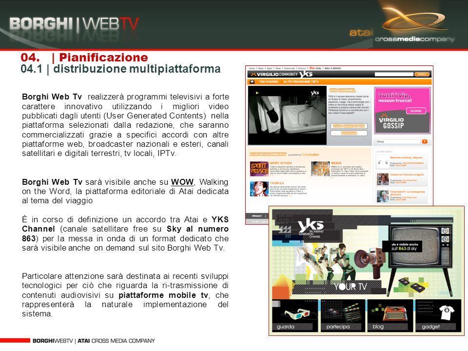 04. | Pianificazione 04.1 | distribuzione multipiattaforma Borghi Web Tv realizzerà programmi televisivi a forte carattere innovativo utilizzando i mi