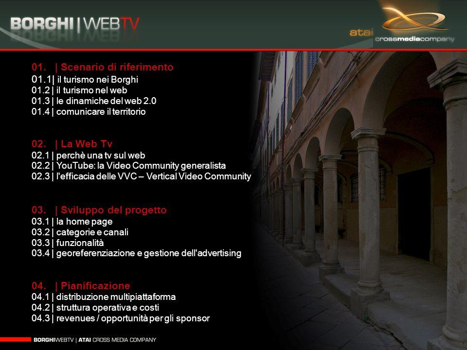 01. | Scenario di riferimento 01.1| il turismo nei Borghi 01.2 | il turismo nel web 01.3 | le dinamiche del web 2.0 01.4 | comunicare il territorio 02