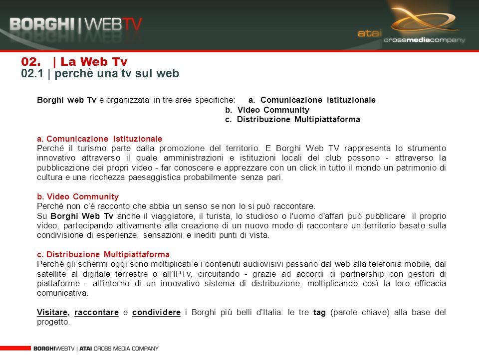 02. | La Web Tv 02.1 | perchè una tv sul web Borghi web Tv è organizzata in tre aree specifiche: a. Comunicazione Istituzionale b. Video Community c.