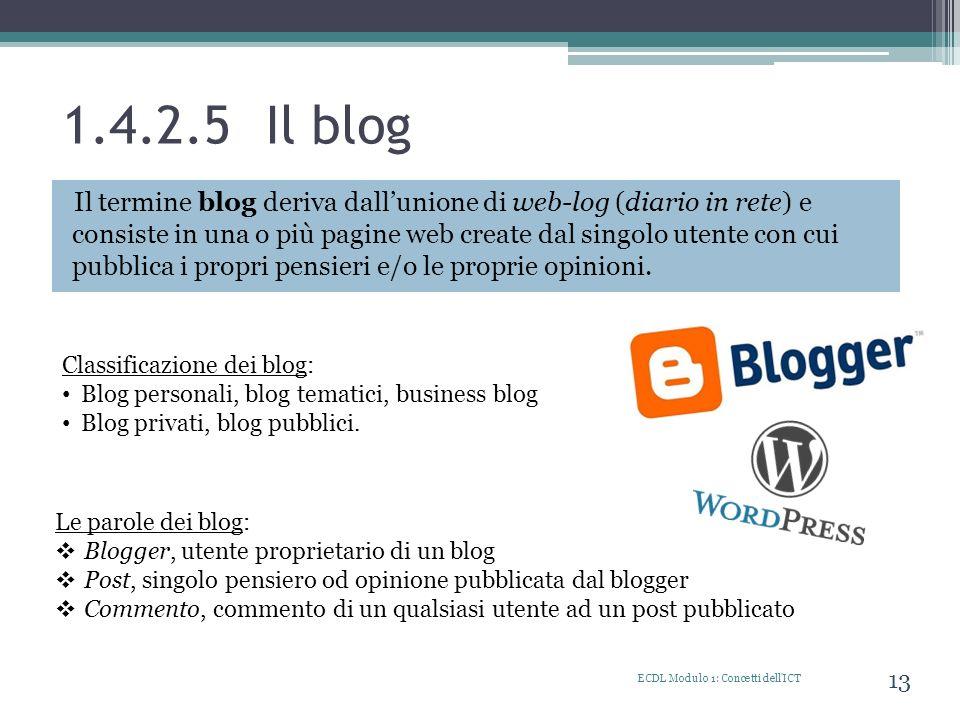 1.4.2.5 Il blog ECDL Modulo 1: Concetti dell'ICT 13 Il termine blog deriva dallunione di web-log (diario in rete) e consiste in una o più pagine web c