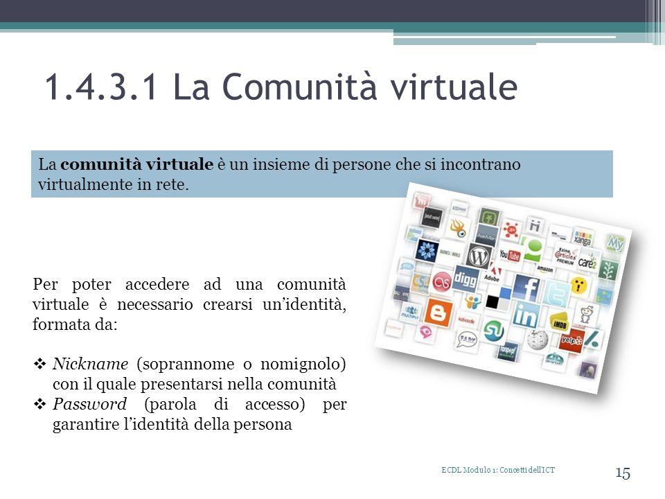 1.4.3.1 La Comunità virtuale ECDL Modulo 1: Concetti dell'ICT 15 La comunità virtuale è un insieme di persone che si incontrano virtualmente in rete.