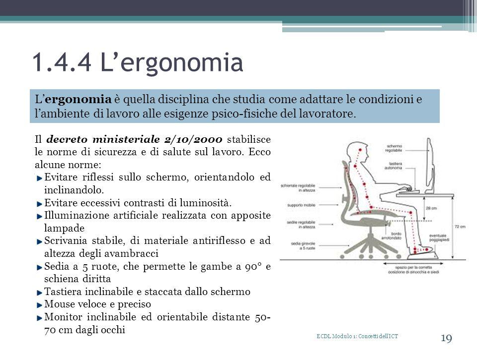 1.4.4 Lergonomia ECDL Modulo 1: Concetti dell'ICT 19 Lergonomia è quella disciplina che studia come adattare le condizioni e lambiente di lavoro alle