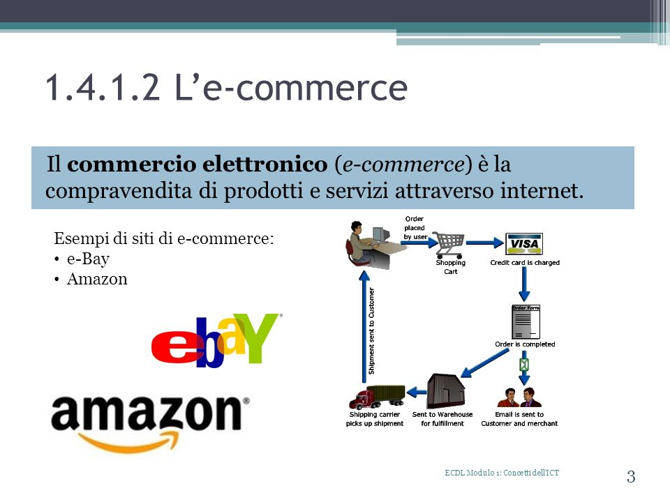 1.4.1.2 Le-commerce Il commercio elettronico (e-commerce) è la compravendita di prodotti e servizi attraverso internet. ECDL Modulo 1: Concetti dell'I