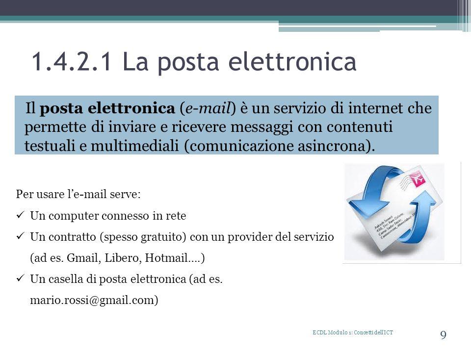 1.4.2.1 La posta elettronica Il posta elettronica (e-mail) è un servizio di internet che permette di inviare e ricevere messaggi con contenuti testual