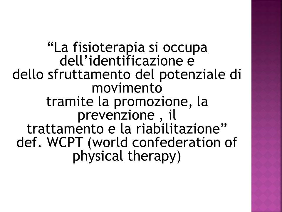 La fisioterapia si occupa dellidentificazione e dello sfruttamento del potenziale di movimento tramite la promozione, la prevenzione, il trattamento e