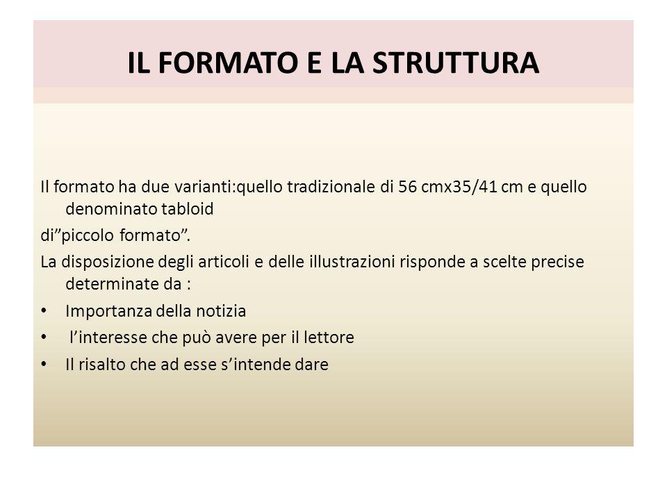 IL FORMATO E LA STRUTTURA Il formato ha due varianti:quello tradizionale di 56 cmx35/41 cm e quello denominato tabloid dipiccolo formato. La disposizi