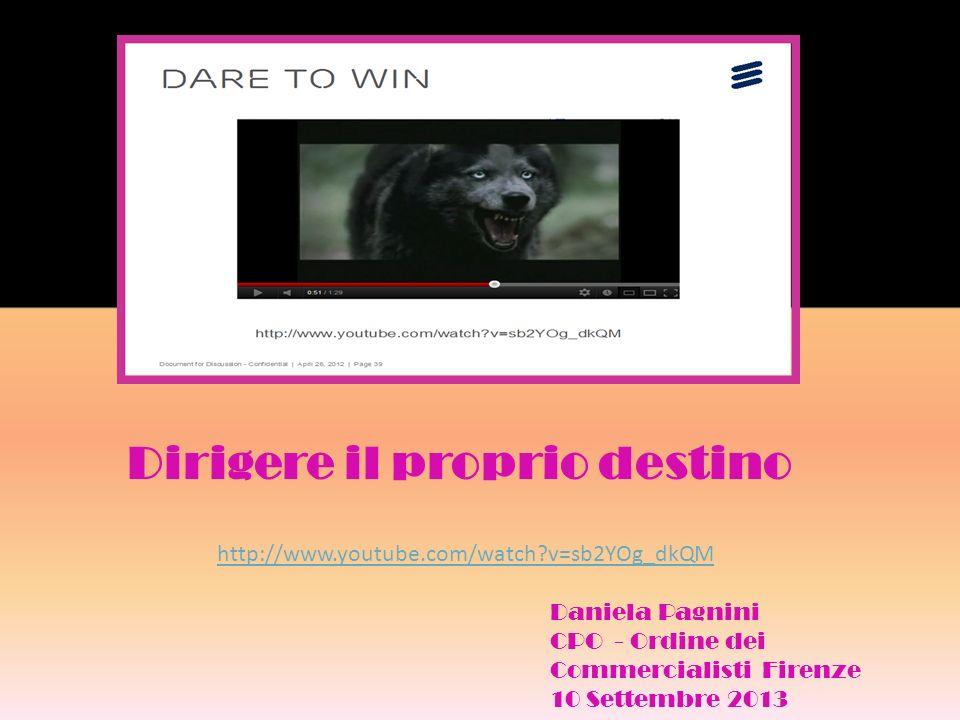 Dirigere il proprio destino http://www.youtube.com/watch?v=sb2YOg_dkQM Daniela Pagnini CPO - Ordine dei Commercialisti Firenze 10 Settembre 2013