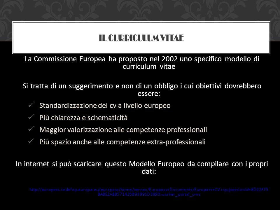 La Commissione Europea ha proposto nel 2002 uno specifico modello di curriculum vitae Si tratta di un suggerimento e non di un obbligo i cui obiettivi