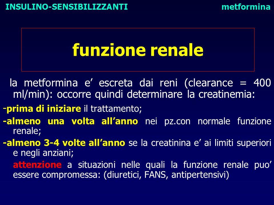 funzione renale la metformina e escreta dai reni (clearance = 400 ml/min): occorre quindi determinare la creatinemia: - prima di iniziare il trattamen