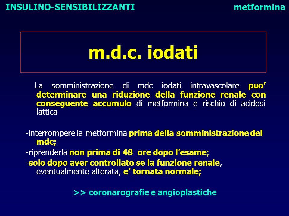 m.d.c. iodati La somministrazione di mdc iodati intravascolare puo determinare una riduzione della funzione renale con conseguente accumulo di metform