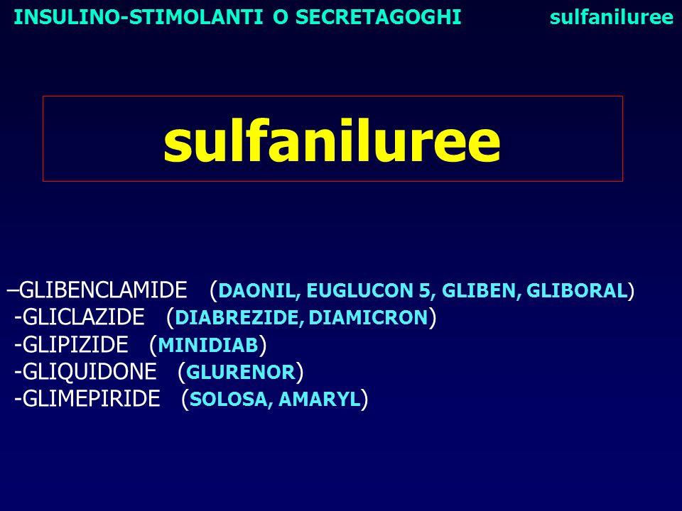 sulfaniluree –GLIBENCLAMIDE ( DAONIL, EUGLUCON 5, GLIBEN, GLIBORAL) -GLICLAZIDE ( DIABREZIDE, DIAMICRON ) -GLIPIZIDE ( MINIDIAB ) -GLIQUIDONE ( GLUREN