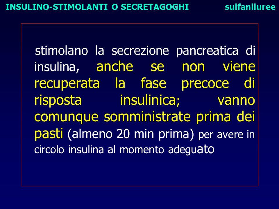 stimolano la secrezione pancreatica di insulina, anche se non viene recuperata la fase precoce di risposta insulinica ; vanno comunque somministrate p