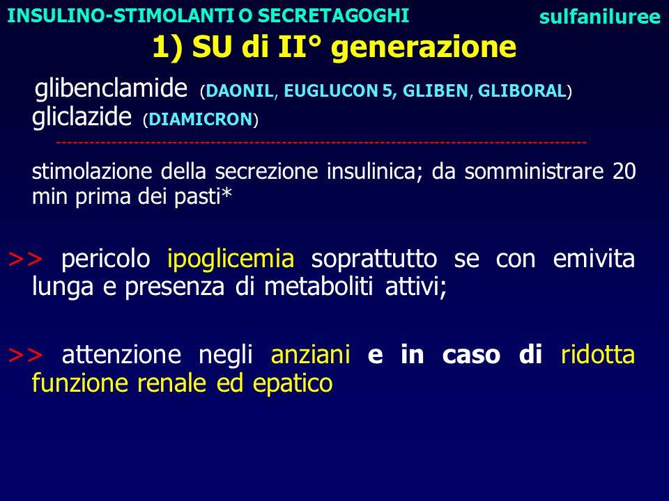 1) SU di II° generazione glibenclamide ( DAONIL, EUGLUCON 5, GLIBEN, GLIBORAL ) gliclazide ( DIAMICRON ) ---------------------------------------------