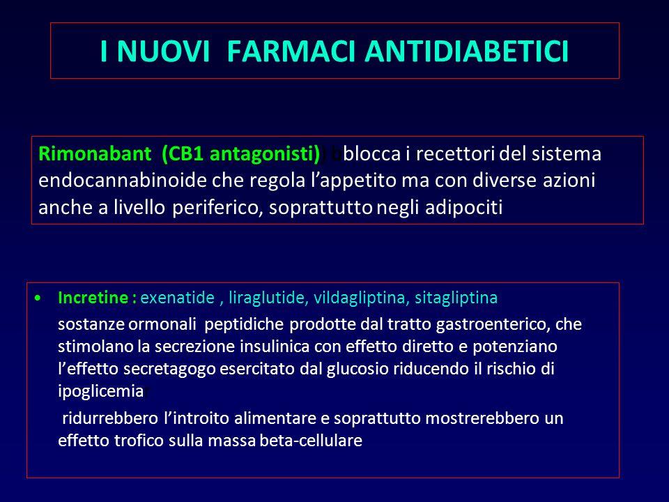 Incretine : exenatide, liraglutide, vildagliptina, sitagliptina sostanze ormonali peptidiche prodotte dal tratto gastroenterico, che stimolano la secr