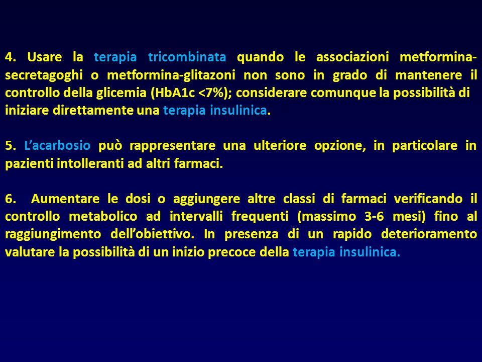 4. Usare la terapia tricombinata quando le associazioni metformina- secretagoghi o metformina-glitazoni non sono in grado di mantenere il controllo de