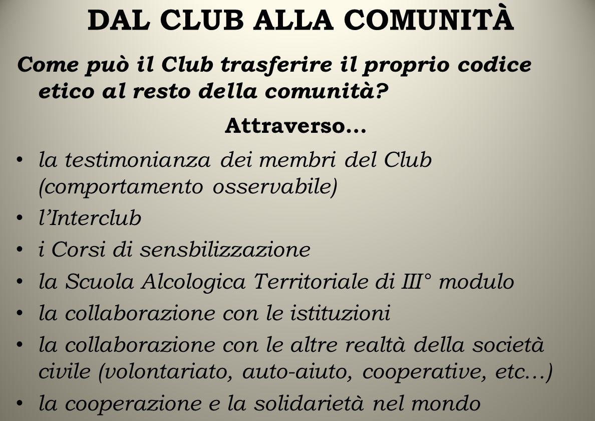 DAL CLUB ALLA COMUNITÀ Come può il Club trasferire il proprio codice etico al resto della comunità.